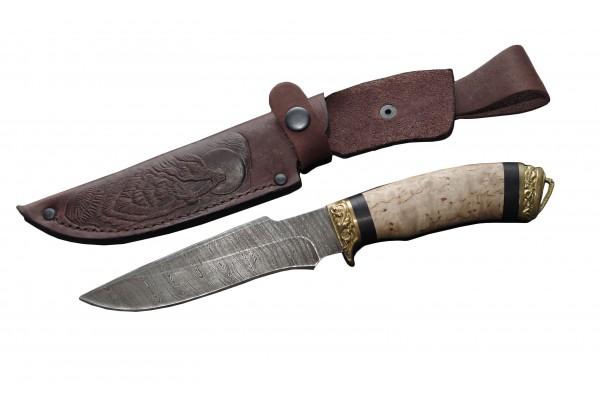 Купить кованый нож Волк Дамаск Карельская береза